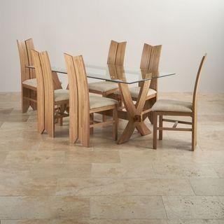 Comedor para 6 personas de madera de roble maciza