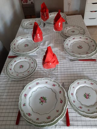 LIMOGES :vajilla porcelana pintado a mano