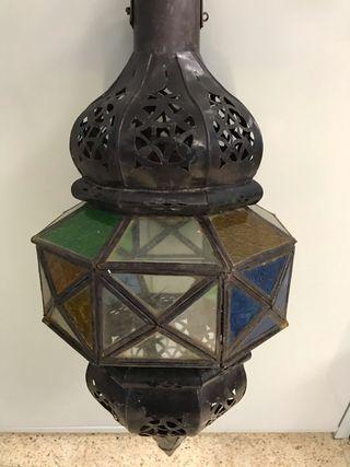 Farol porta velas oriental de metal con colores