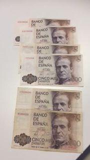6 billetes de 5000 pesetas
