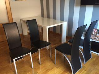 4 sillas polipiel negro