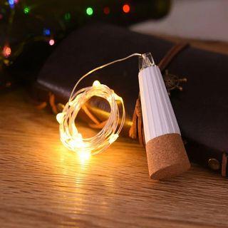 Cadena luces LED forma de corcho carga USB