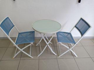 mesa y silla plegable jardin