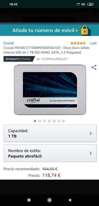 "Disco Duro SSD 1 Tb 2,5"" Especial Portatiles"