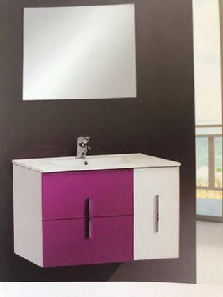 Mueble baño ,encimera ceramica blanca y espejo