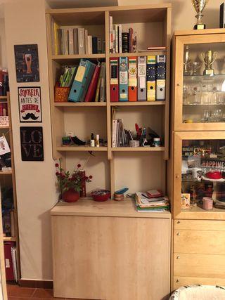 Mueble con estantería y baúl