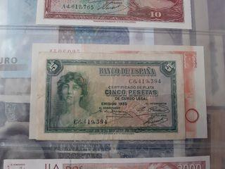 precioso billete 5 pesetas 1935 II republica