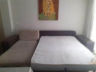 Cheslong convertible en cama de 135, tela rústica.