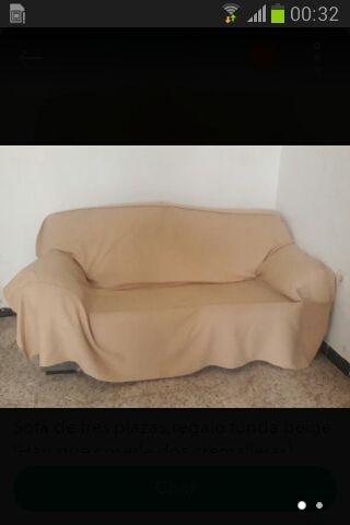 sofa 3plazas Regalo Funda Beige