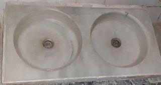 Fregadero de mármol blanco de 1 pieza