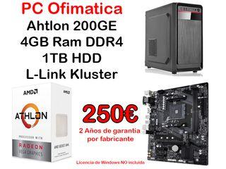PC Ofimática 4GB DDR4, 1TB, Athlon GE
