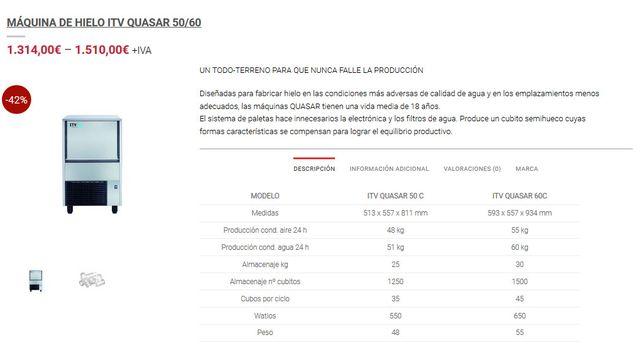MAQUINA DE HIELO ITV NUEVA A ESTRENAR 60 KG