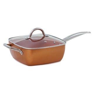 Sartén cuadrada de cobre con tapa, sartén cocina