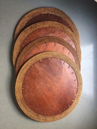 4 Manteles individuales cocina madera rattan