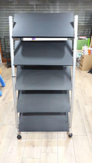 expositor de revistas con 5 estantes color negro