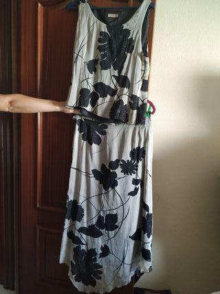 Conjunto top y falda seda marca Sintesis