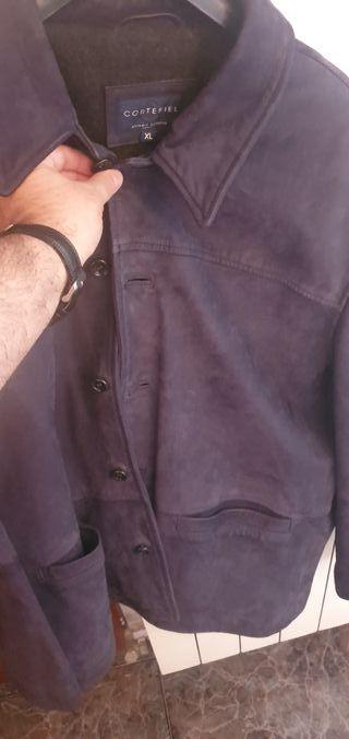 chaqueta de piel Cortefiel color azul xl