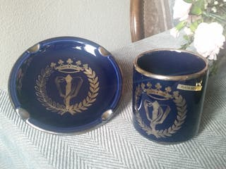 Cenicero, vaso Colegio de Medicos, plata, porcelan