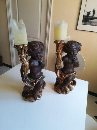 2 Esculturas pie de lámparas
