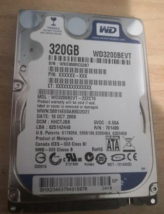 Disco duro wd 320gb 5400rpm ps3, portátil, ps4