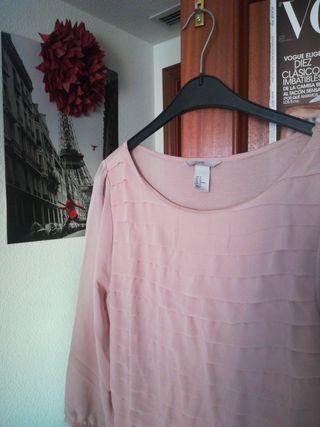 camisa larga rosa empolvado