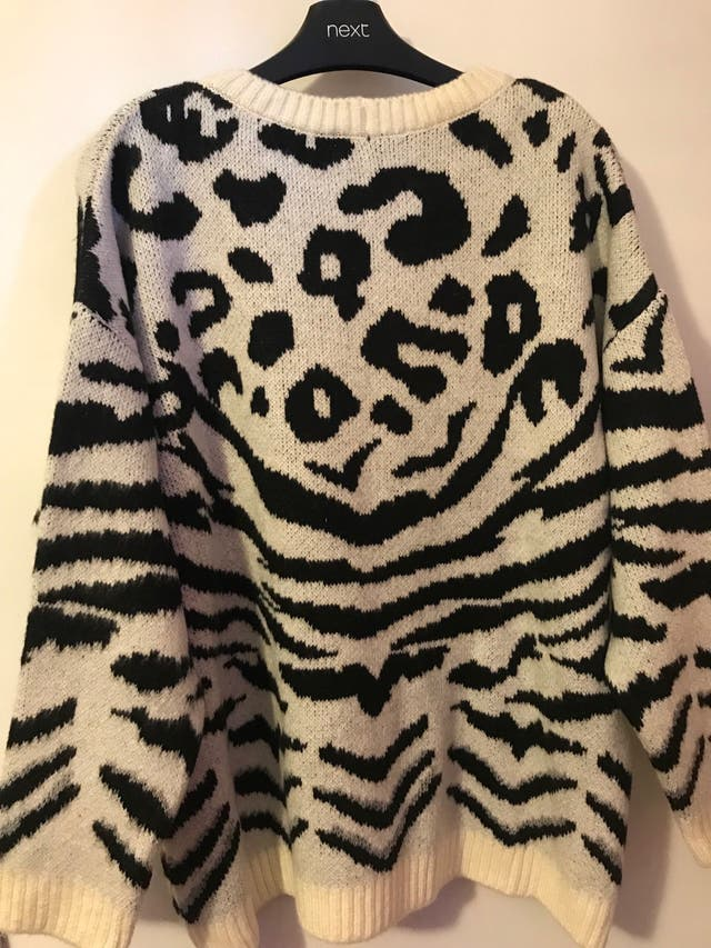 Monochrome mixed animal print jumper