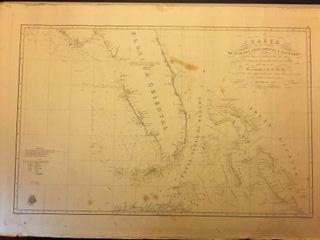 Carta Náutica antigua 1838, papel sobre tela.