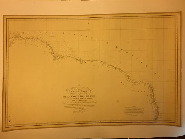 Carta Náutica antigua 1827, papel y tela. BRASIL
