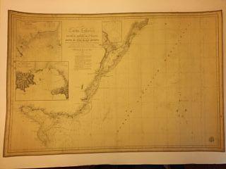Carta Náutica antigua 1831, papel sobre tela.