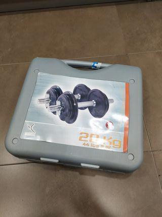 Mancuernas 20kg, maletín pesas