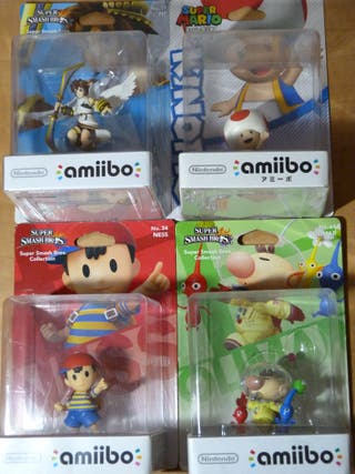 PACK 4 amiibos Toad Olimar Pikmin Ness SWITCH 3DS