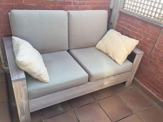 Sofá exterior de teca 2 plazas