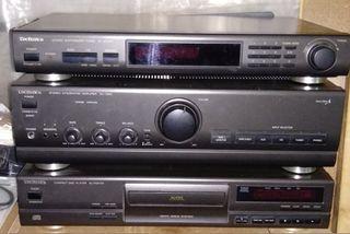 Amplificador Technics + altavoces + radio + CD