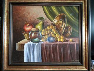 Cuadro con frutas al óleo