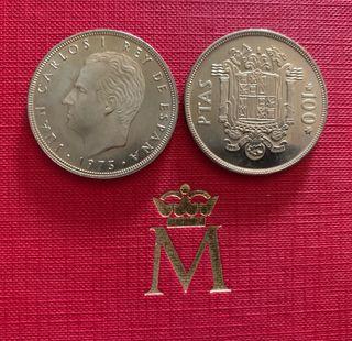 Dos monedas de 100 pesetas de 1975