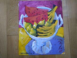 Oleo bodegón con fruta.