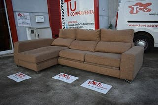 Sofa chaise longue beige extensible reclinable 285