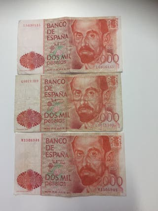 Billetes 2000 pesetas (3 ud)