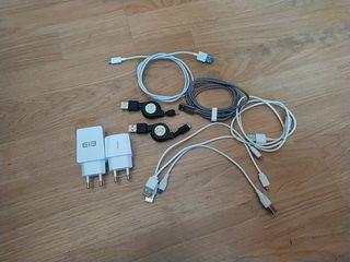 Lote cargadores y cables microusb y typ-c + cascos
