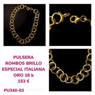 Pulsera Oro 18 K Rombos Italiana