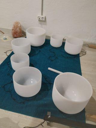 7 cuencos de cristal de cuarzo