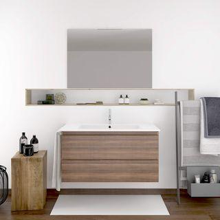 Mueble DE BAÑO SUSPENDIDO con Lavabo Espejo TOALLE