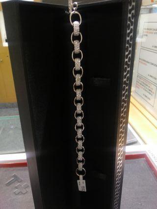 pulsera plata de ley anillas circonitas
