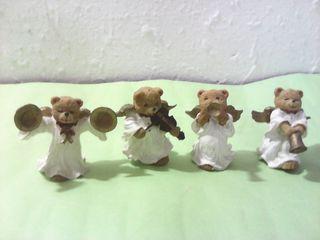 Lote de 4 angeles ositos musicos de navidad