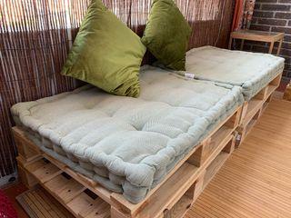 sofa terraza - set 6 palets y 3 cojines