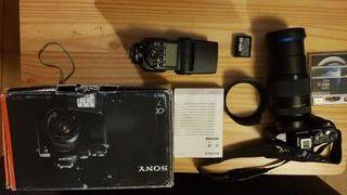 Equipo completo Sony A7 usada+tele24/240+flashN50