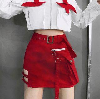 Falda gòtica roja