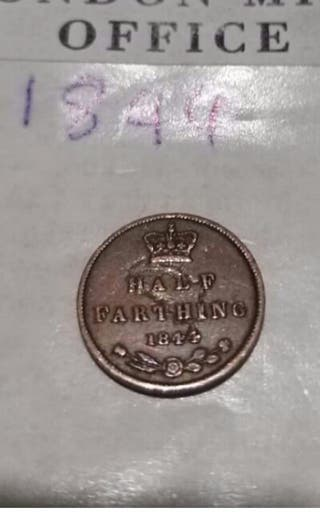 rare 1 of a kind mint error 1844 half farthing.
