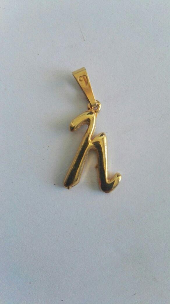 Colgante chapado oro inicial letra N