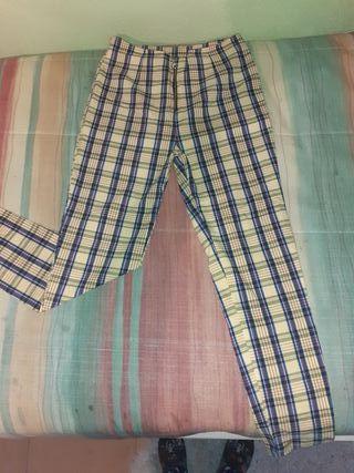 Pantalón tartán cuadros amarillo